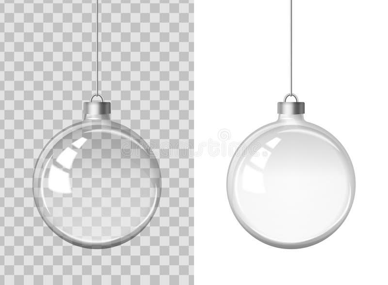 Imagem realística do vetor de uma bola transparente transparente de vidro do Natal ilustração stock