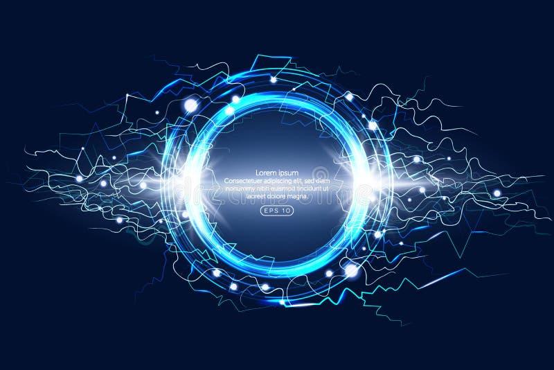 Imagem realística elétrica luminosa do fenômeno atmosférico do relâmpago do círculo no fundo decorativo escuro do azul de céu not ilustração do vetor