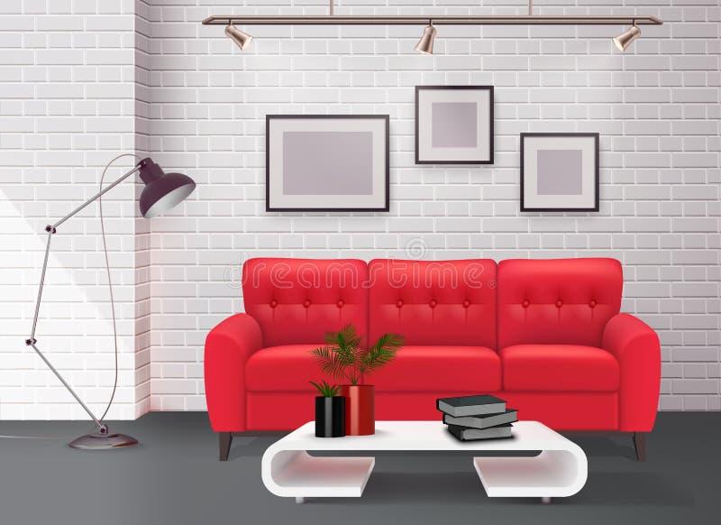 Imagem realística interior ilustração stock
