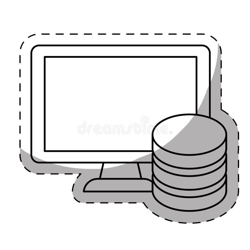 imagem relacionada dos ícones do centro do alojamento web ou de dados ilustração stock