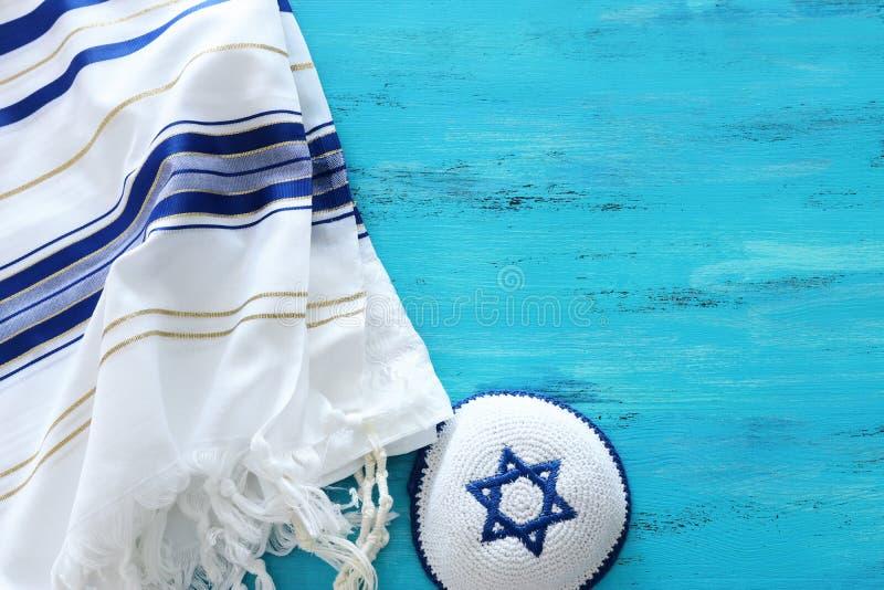 Imagem religiosa de Prayer Shawl - Símbolo religioso judeu de Tallit Rosh hashanah jedesejo feriado de Ano Novo, Shabbat e Yom ki imagens de stock royalty free