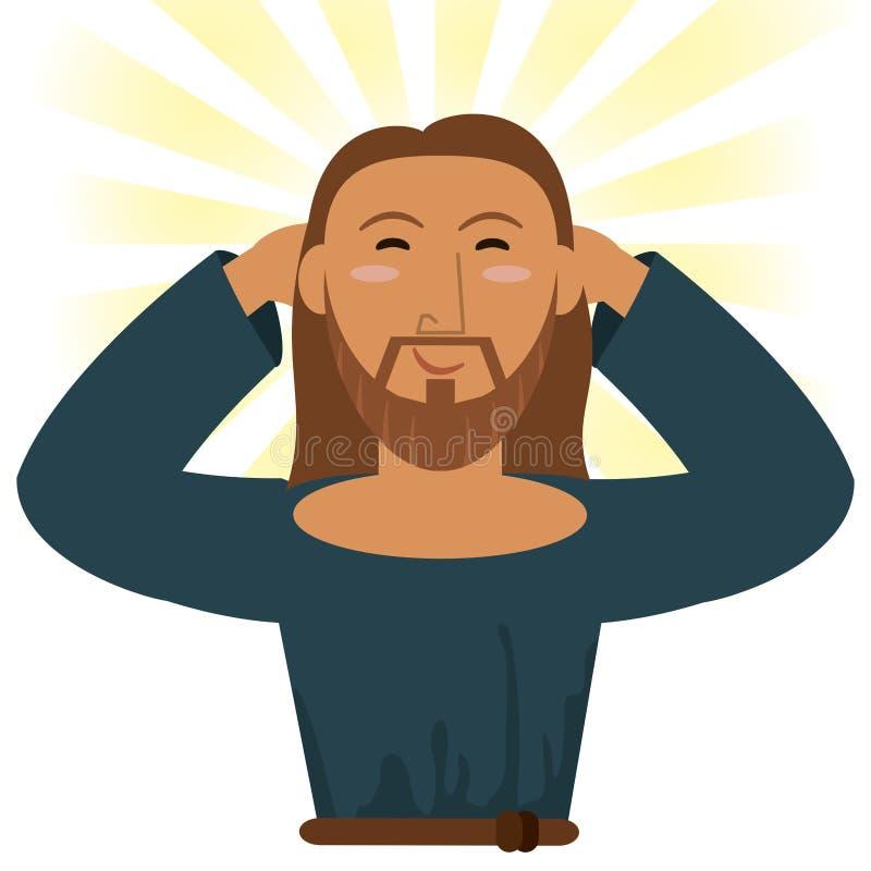 Imagem religiosa feliz de Jesus christ ilustração stock