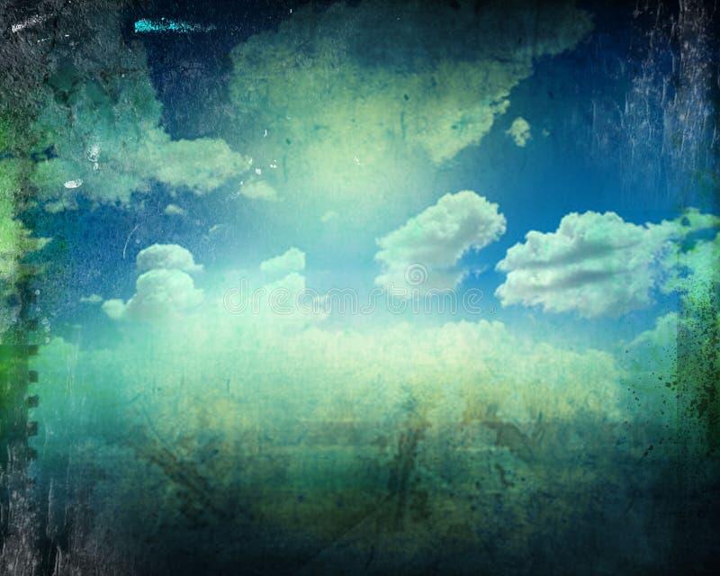 Imagem retro do céu nebuloso fotografia de stock