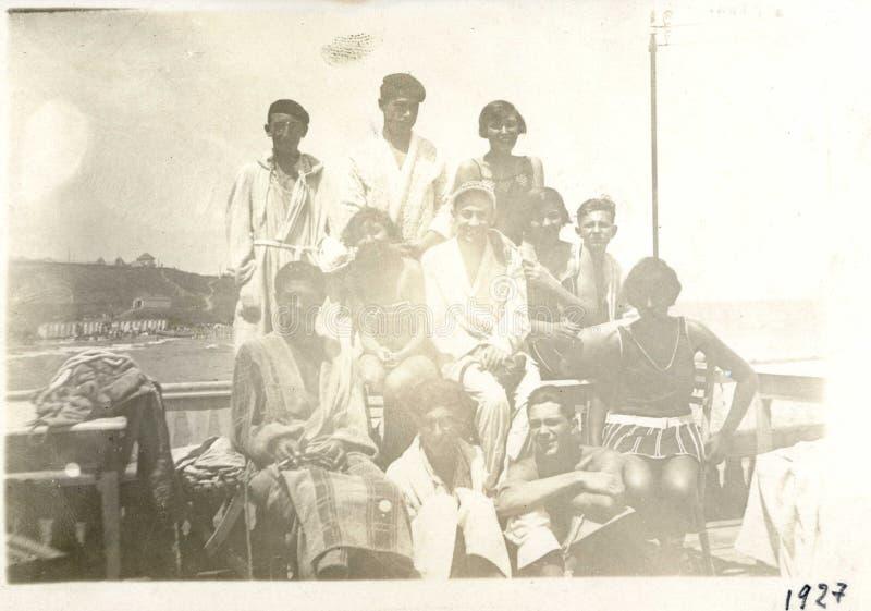 Imagem romena velha 1927 do Mar Negro do beira-mar do vintage fotografia de stock