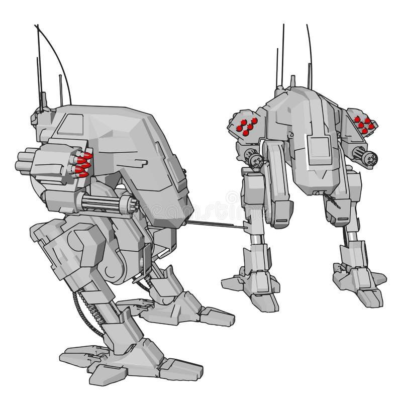 Imagem simples de dois robôs cinzentos com ilustração vetorial de cabeças de mísseis vermelhos ilustração do vetor