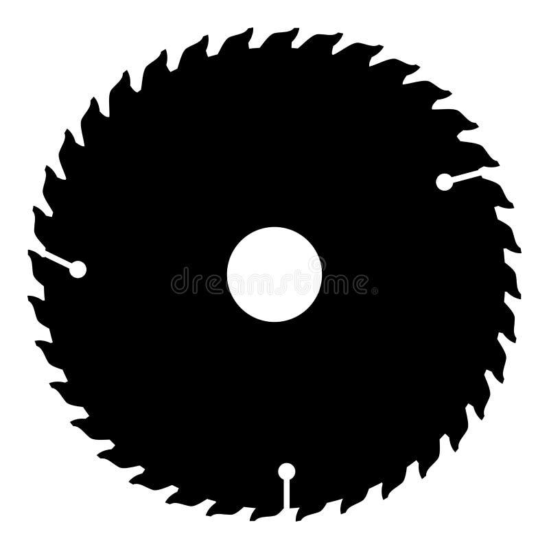 Imagem simples do estilo liso circular da ilustração de cor do preto do ícone do disco ilustração stock