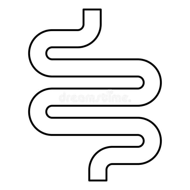 Imagem simples do estilo liso da ilustração de cor do preto do ícone do intestino ou das entranhas ilustração stock