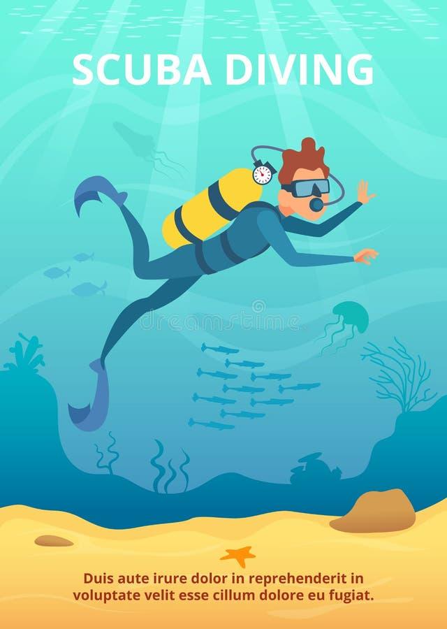 Imagem subaquática do fundo com mergulhador dos desenhos animados ilustração stock