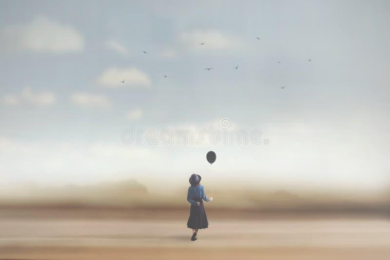 Imagem surreal de uma jovem mulher que sonha com um balão foto de stock royalty free
