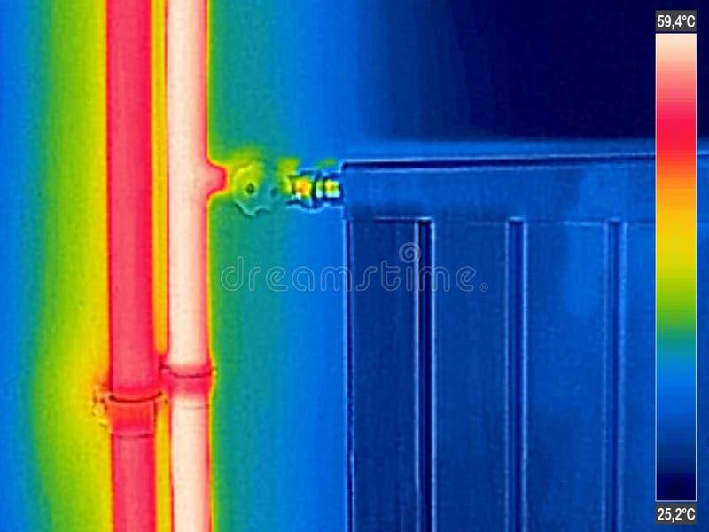 Imagem térmica infravermelha do calefator fechado do radiador foto de stock royalty free