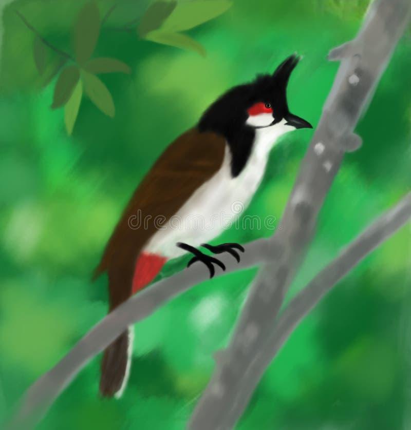 Imagem tailandesa do desenho do pássaro ilustração royalty free