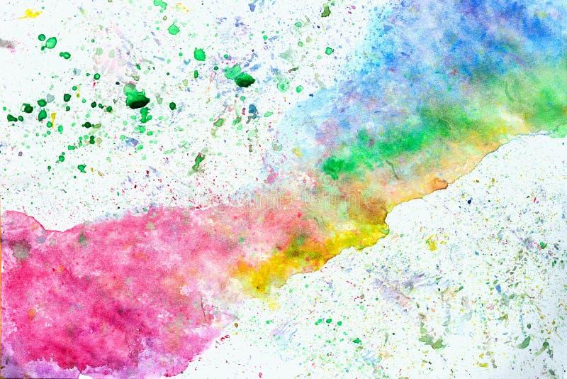 Imagem tirada da aquarela do multicolorod mão abstrata para o fundo do respingo, máscaras do arco-íris no branco Projeto artístic ilustração do vetor