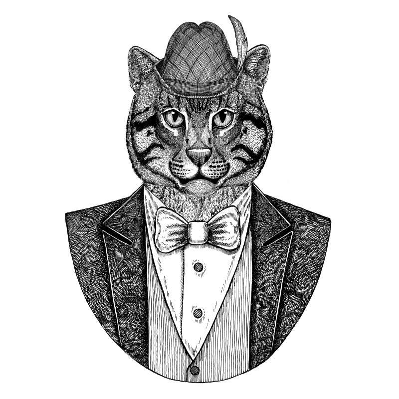 Imagem tirada do gato da pesca do gato do chapéu do chapéu de Tirol do alemão mão selvagem nacional bávara para a tatuagem, emble ilustração do vetor