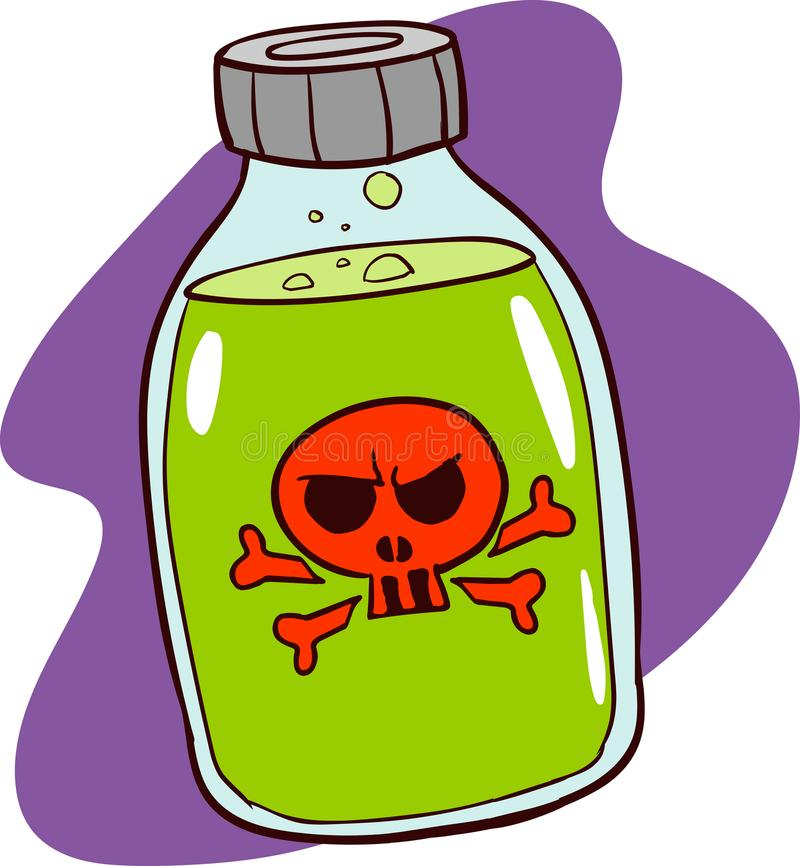 Imagem tirada mão da garrafa do veneno Arte finala colorida original, comi ilustração royalty free