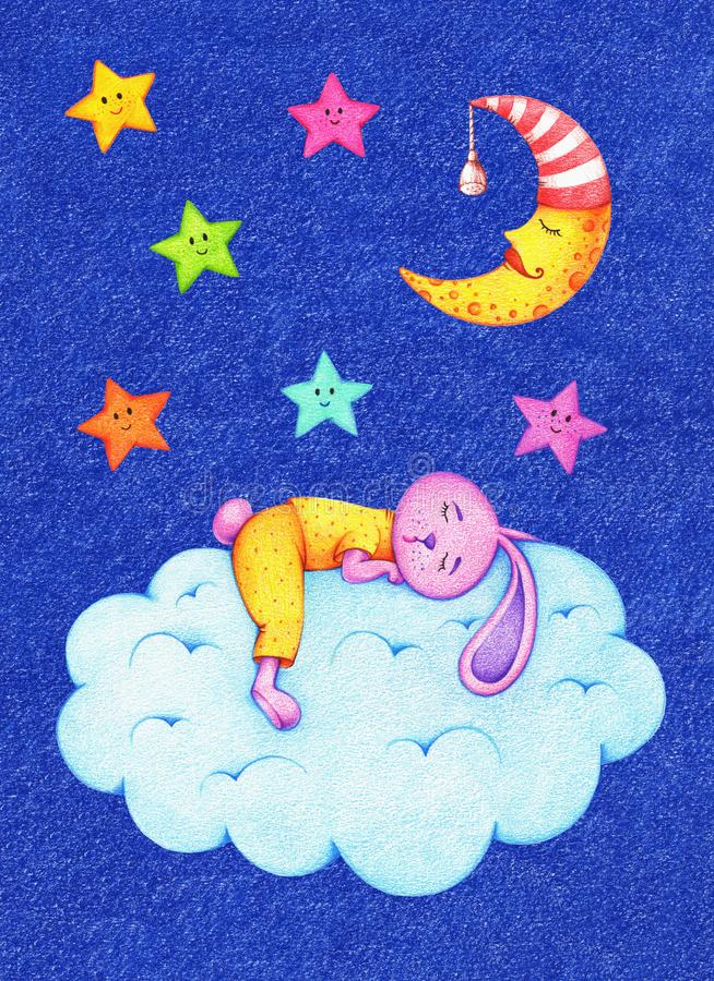 Imagem tirada mãos de estrelas, da lua e da lebre coloridas engraçadas ilustração do vetor