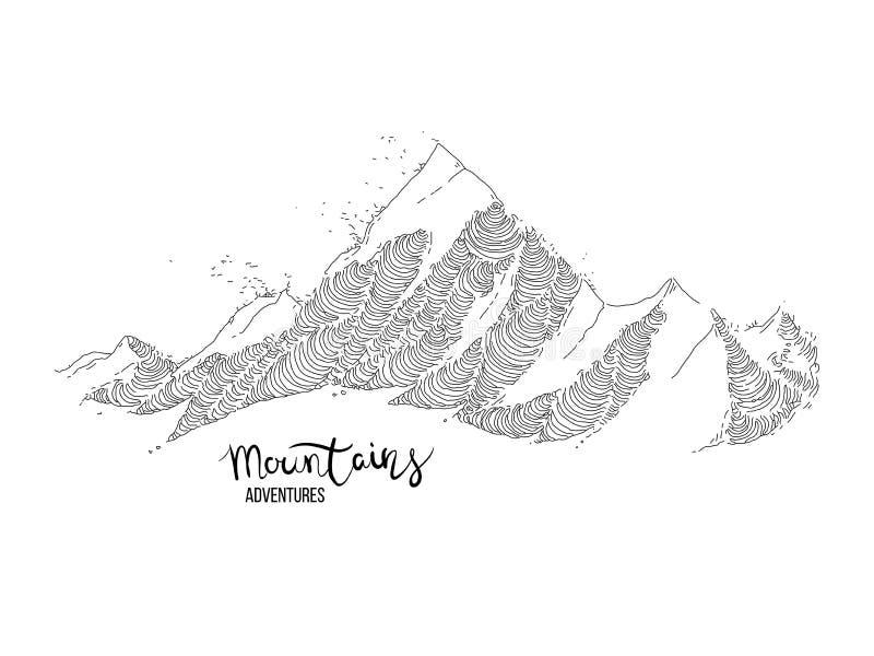 Imagem tirada m?o de um pico de montanha, gravando o estilo, grunge textured ilustração do vetor