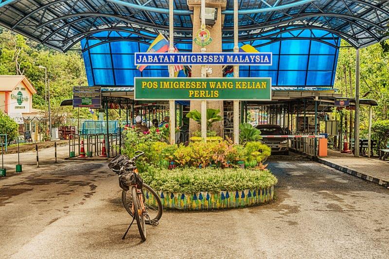 Imagem tomada na passagem fronteiriça malaia tailandesa foto de stock