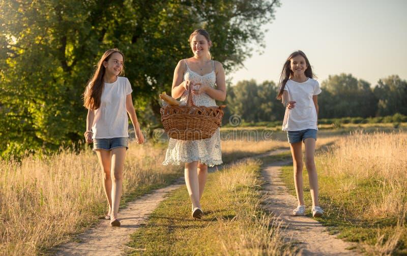 Imagem tonificada da família bonita que anda no prado para tomar parte num piquenique foto de stock royalty free