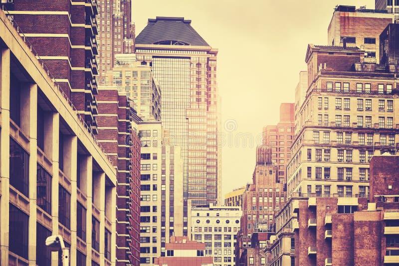 Imagem tonificada retro das construções de Manhattan, NYC fotos de stock