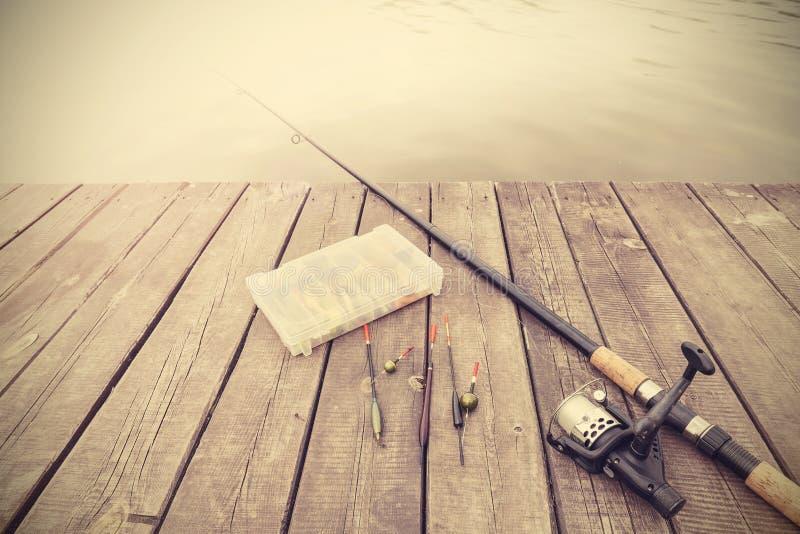Imagem tonificada retro do equipamento de pesca imagem de stock royalty free