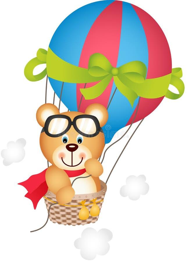 Balão de ar quente com urso de peluche ilustração stock