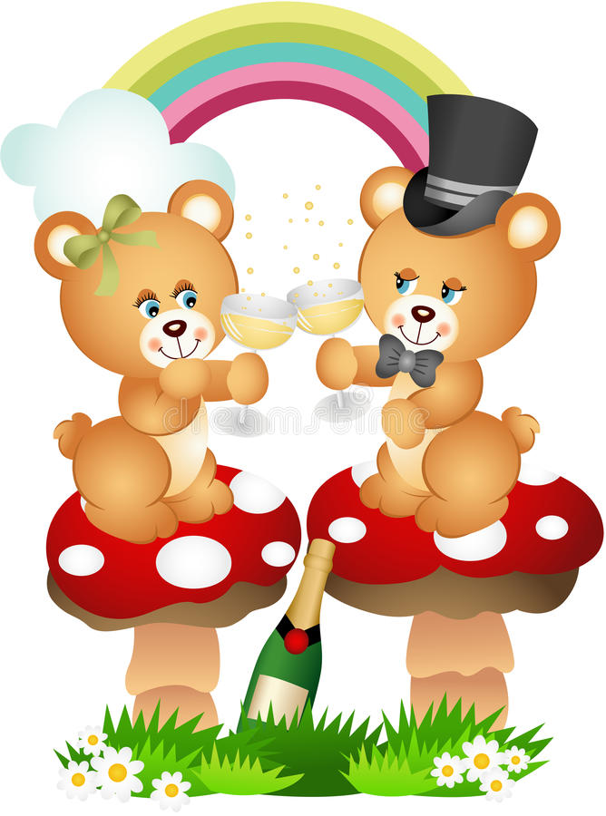 Pares do urso de peluche que brindam com champanhe ilustração do vetor