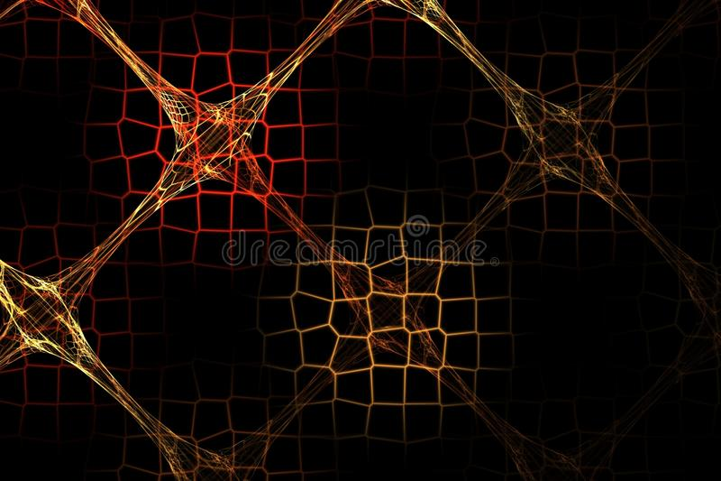 Imagem vermelha do fractal abstrato e marrom geométrica da grade ilustração stock