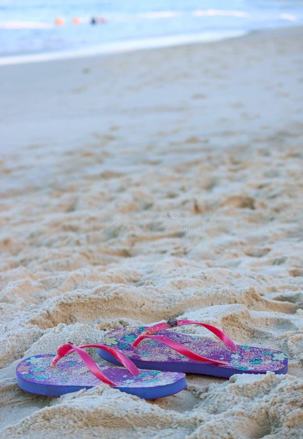 Imagem vertical de um par de rosa vibrante e de sandálias roxas dos flip-flops no Sandy Beach fotos de stock royalty free