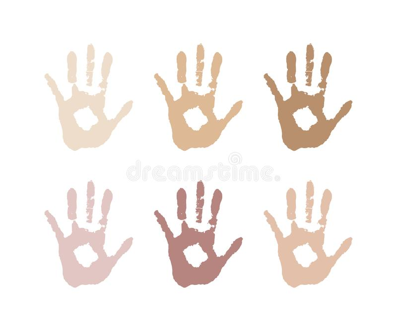 Imagem Vetorial da palma da cor da pele Racismo, raça Cores da pele diferentes tolerância ilustração royalty free