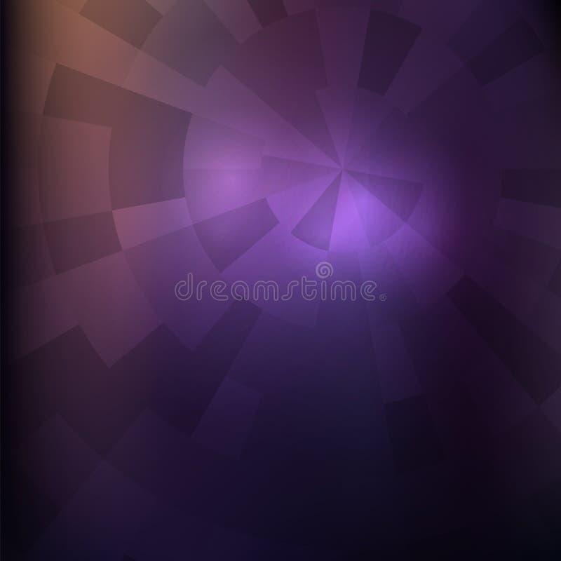 Imagem violeta escura Estilo futurista do techno Concêntrico e radi ilustração do vetor