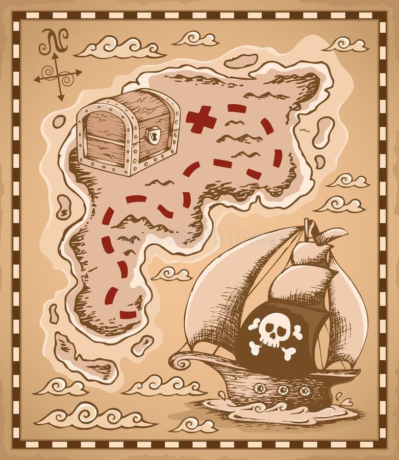 Imagen 1 del tema del mapa del tesoro stock de ilustración
