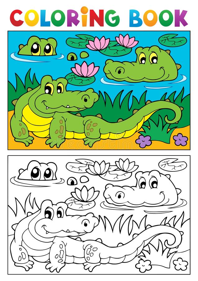 Imagen 2 del cocodrilo del libro de colorear ilustración del vector