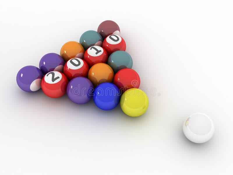 imagen 3D de 2010 (piscina/bolas de billar) ilustración del vector