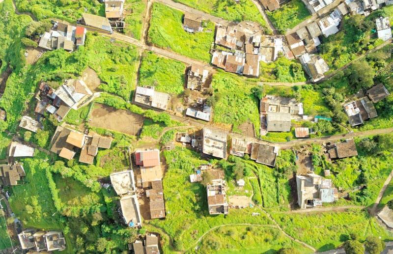 Imagen aérea al sur de Quito fotos de archivo
