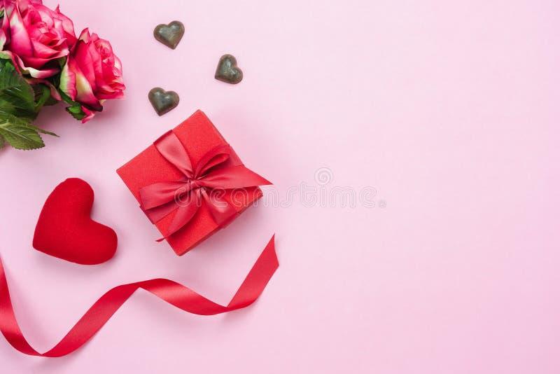 Imagen aérea de la opinión de sobremesa del concepto del fondo del día de tarjeta del día de San Valentín de las decoraciones imagenes de archivo