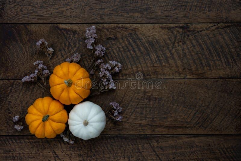 Imagen aérea de la opinión de sobremesa del día del feliz Halloween o de la acción de gracias de la decoración imagen de archivo libre de regalías