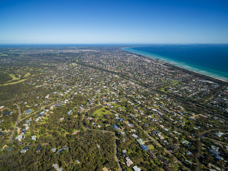 Imagen aérea de la península de Mornington imagen de archivo libre de regalías