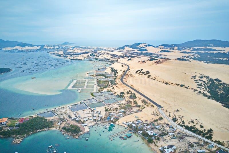Imagen aérea de la playa del estiércol del hijo fotos de archivo