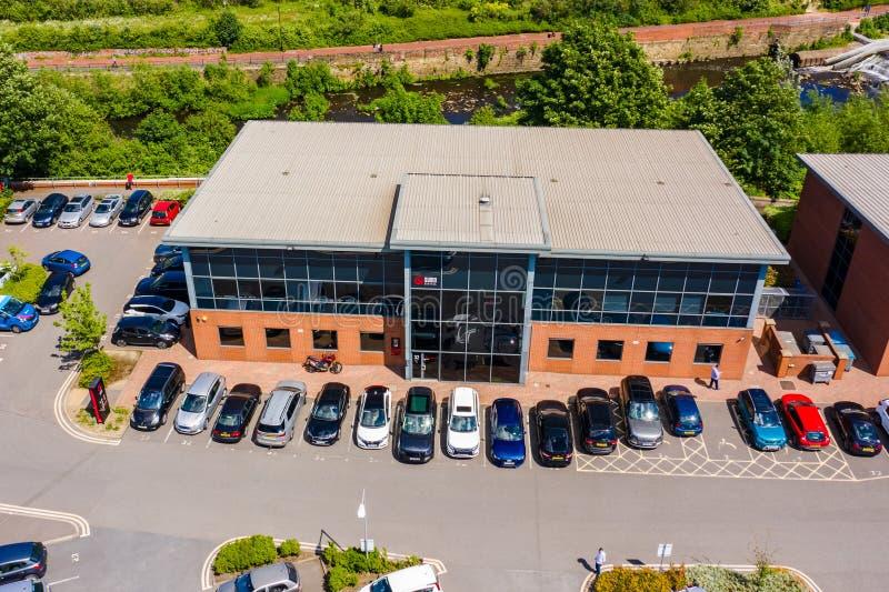 Imagen aérea del estudio de Sumo Digital en Sheffield Uno de los desarrolladores más grandes de los juegos del Reino Unido foto de archivo libre de regalías