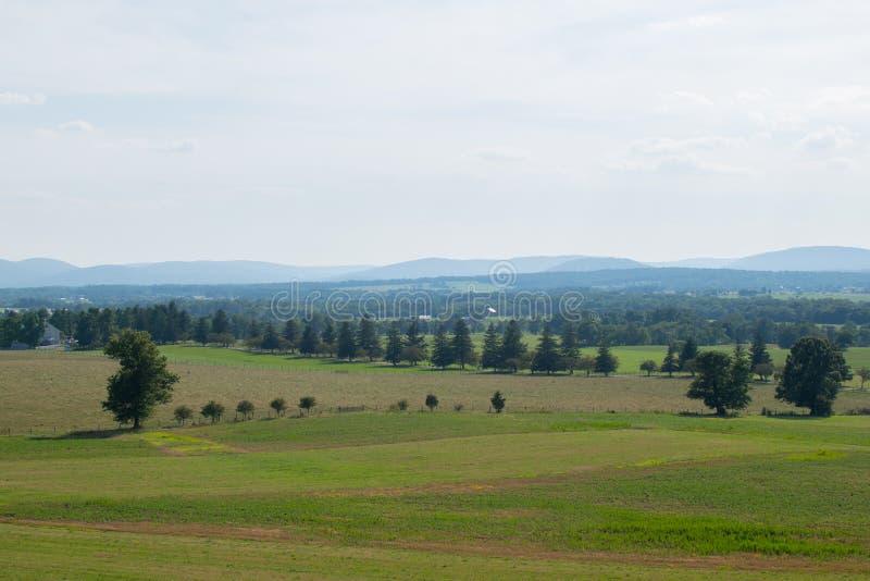 Imagen aérea sobre la mirada de zona rural en Gettysburg, Pennsylvania foto de archivo