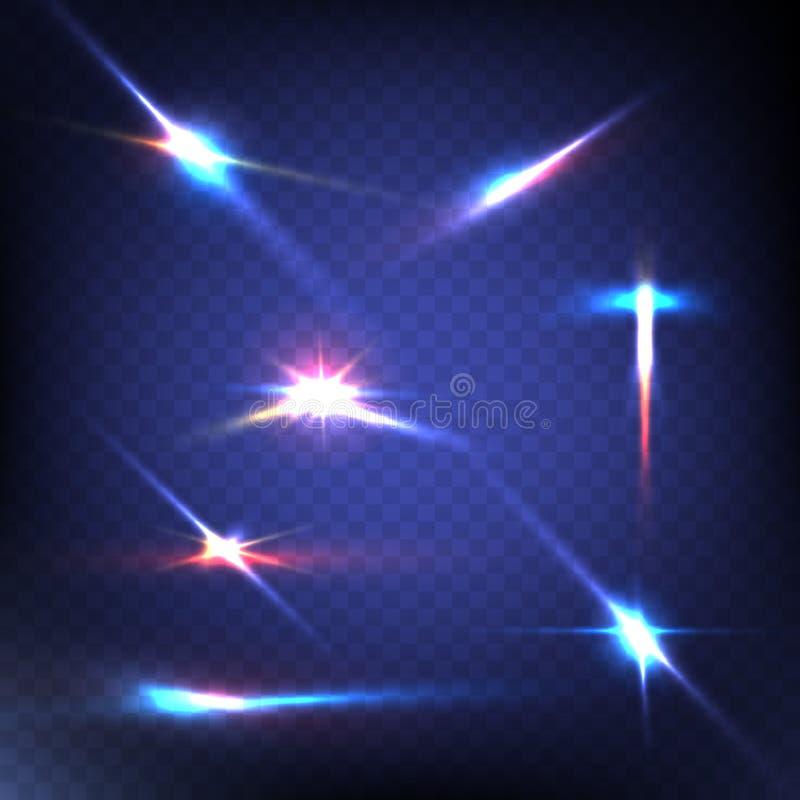 Imagen abstracta de la llamarada de la iluminación conjunto imágenes de archivo libres de regalías