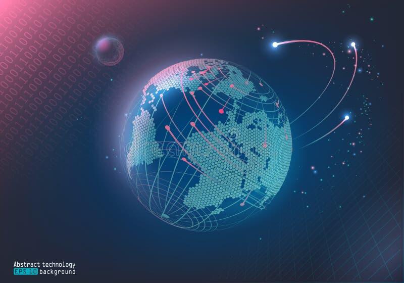 Imagen abstracta de puntos y de líneas Espacio de Digitaces Tierra del planeta y la luna Comunicación, Internet Fondo para una ta stock de ilustración