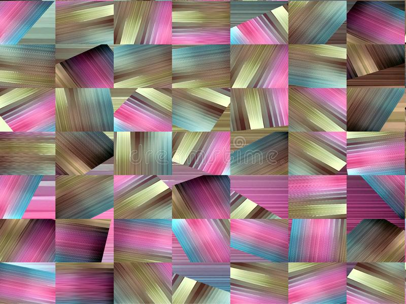 Imagen abstracta de rectángulos multicolores en tonalidades de azul, de rosado, y de amarillo ilustración del vector