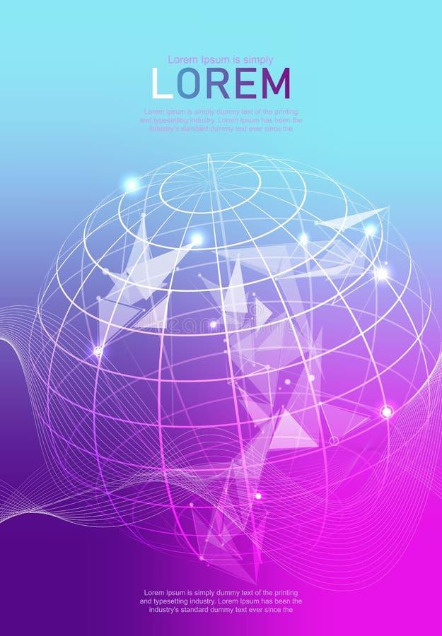 Imagen abstracta de una tierra del planeta Concepto del wireframe del vector de la tierra ilustración del vector