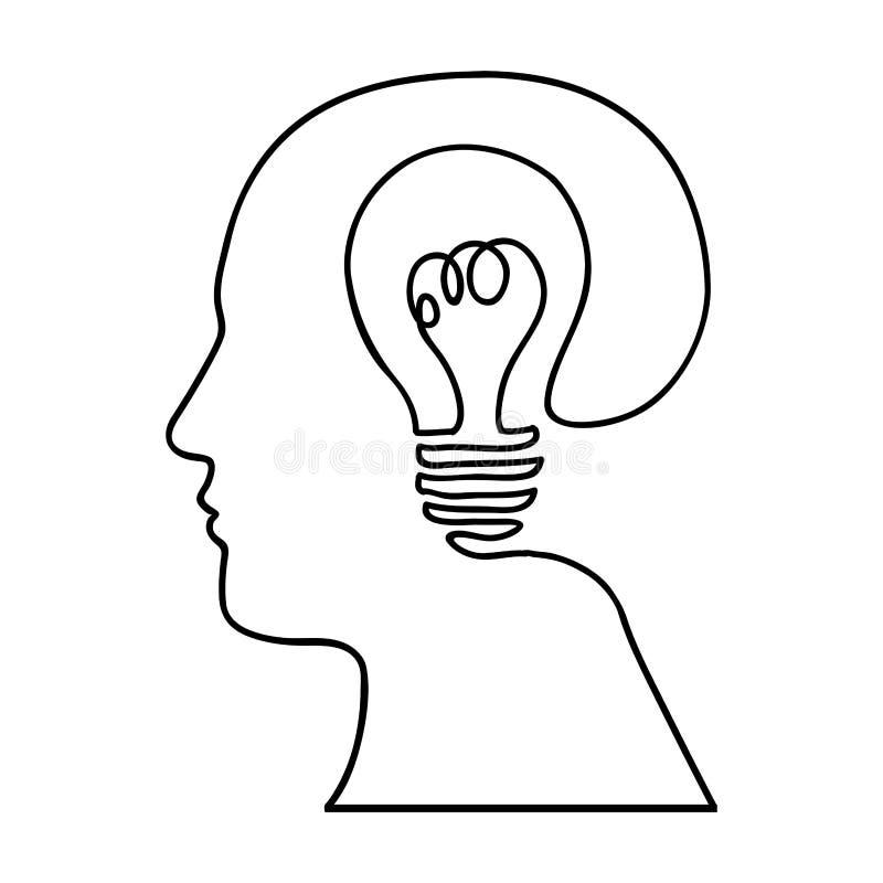 Imagen abstracta del icono de la sabiduría de la cabeza y de la bombilla libre illustration