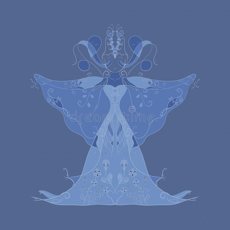 Imagen abstracta, imágenes que consisten en de una mujer de los pescados, pájaros, SNA libre illustration