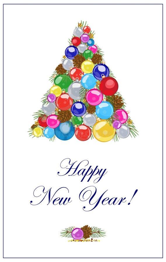 Imagen adornada con un árbol de navidad de bolas Ilustración del vector libre illustration