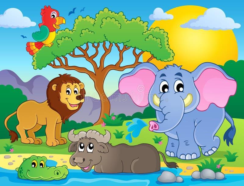 Imagen africana linda 9 del tema de los animales stock de ilustración