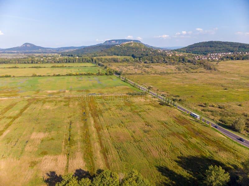 Imagen agrícola aérea de un paisaje húngaro, cerca del lago Balatón foto de archivo libre de regalías