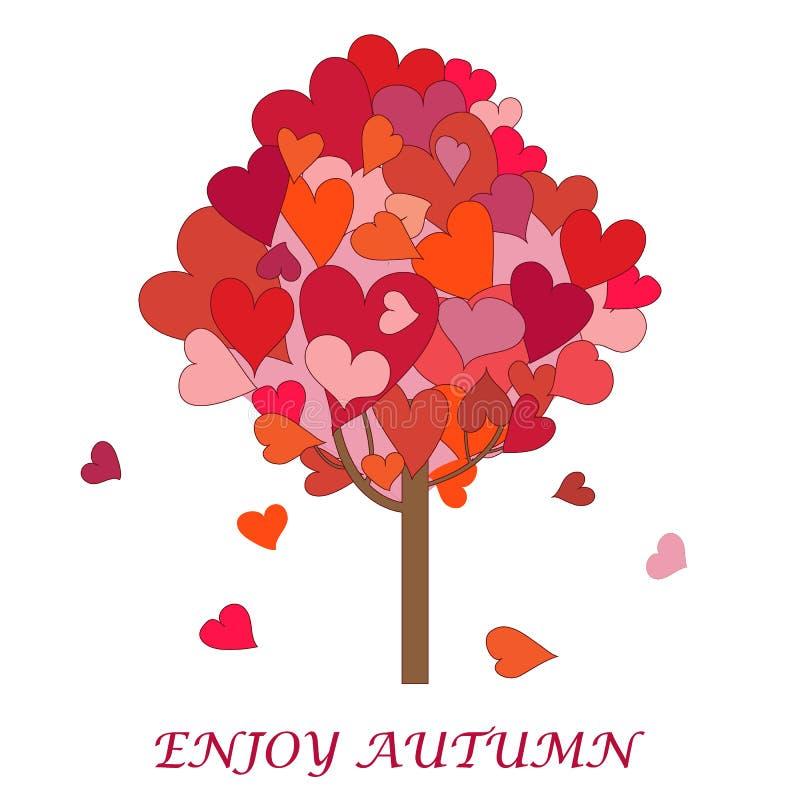 Imagen agradable con el árbol creativo con los hoja-corazones coloridos con stock de ilustración